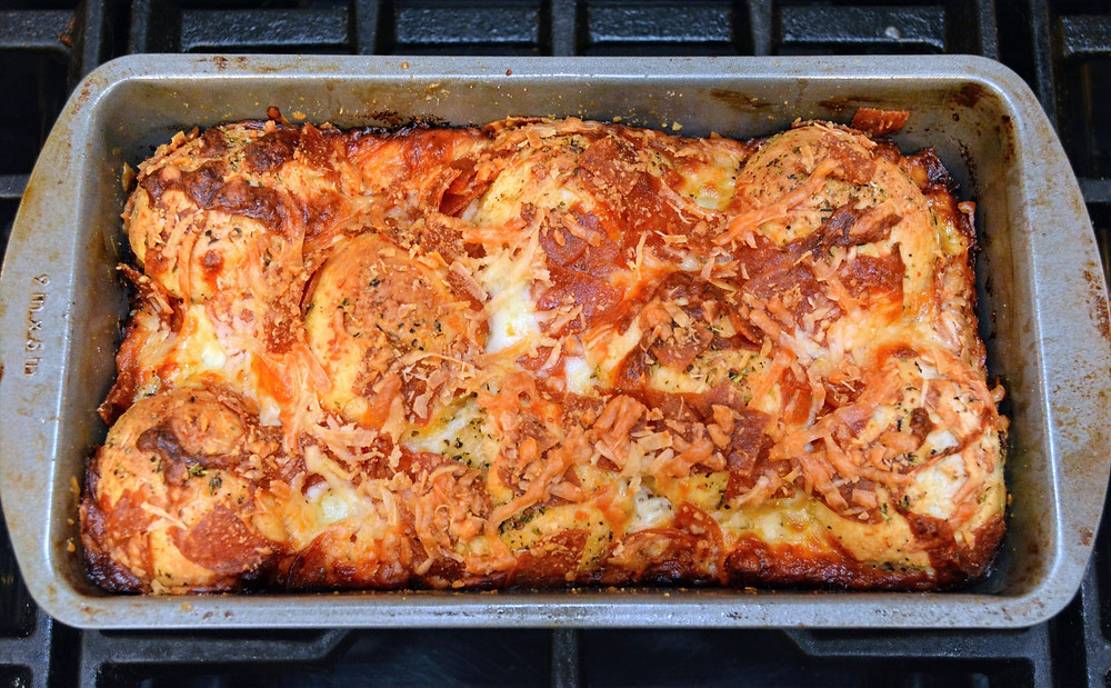 Pepperoni Pizza Bread with Parmesan Topping