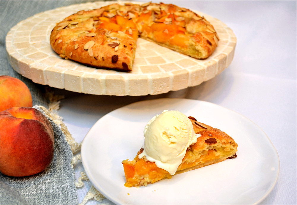 Peach Frangipane Galette with Vanilla Ice Cream