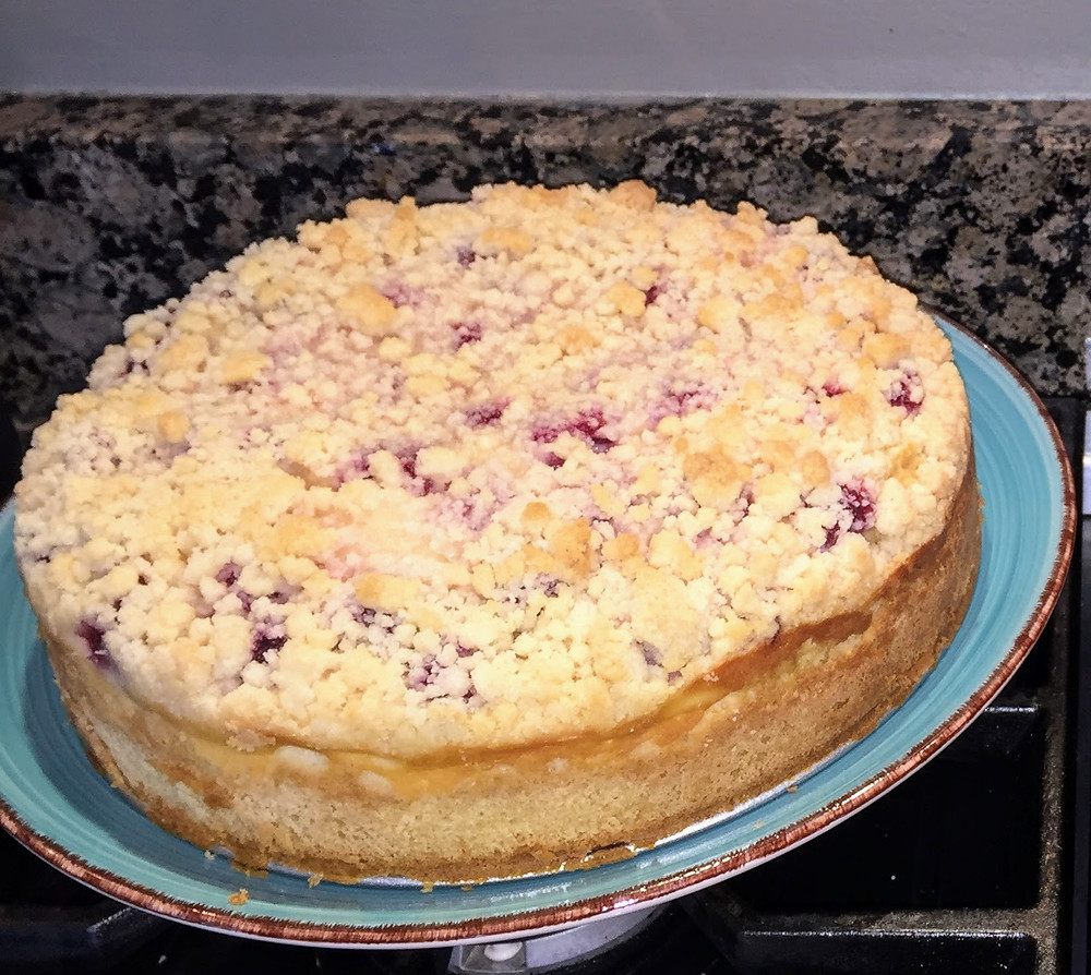 Moist Raspberry and Cream Coffee Cake with Streusel Topping