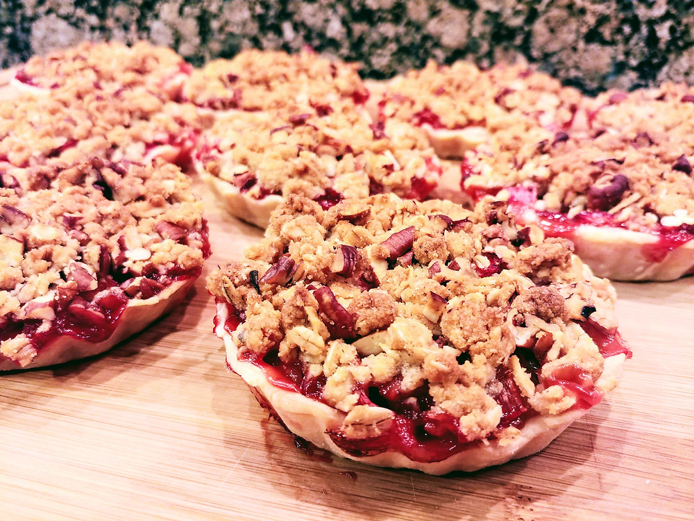 Sweet and Tart Strawberry Rhubarb Tartlets with Pecan Oat Crumble