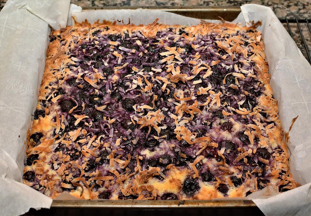 Fresh baked Blueberry Lemon Coconut Cake Bars