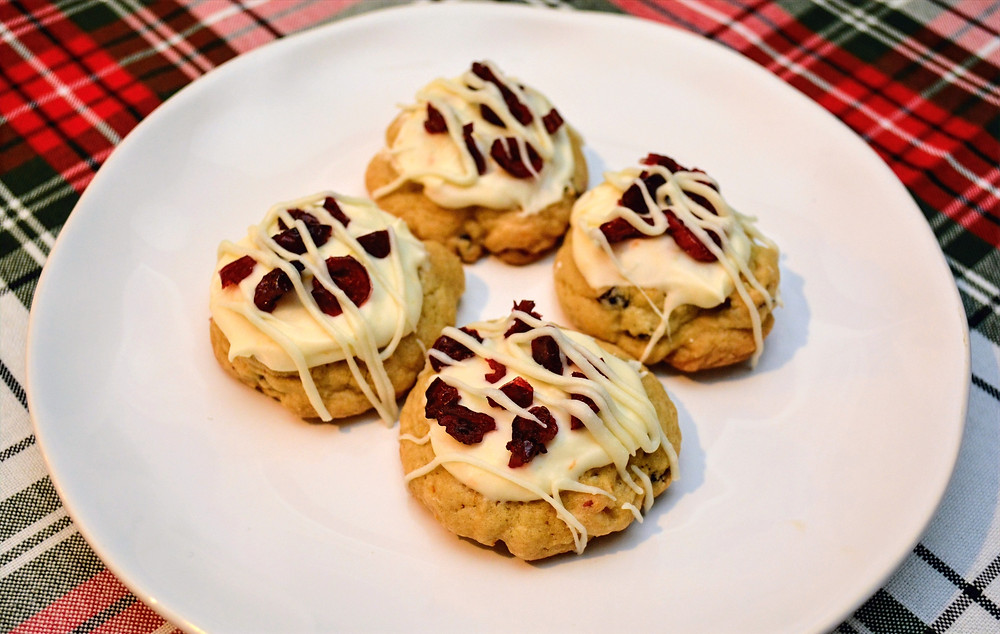 Plated White Chocolate Cranberry Cookies