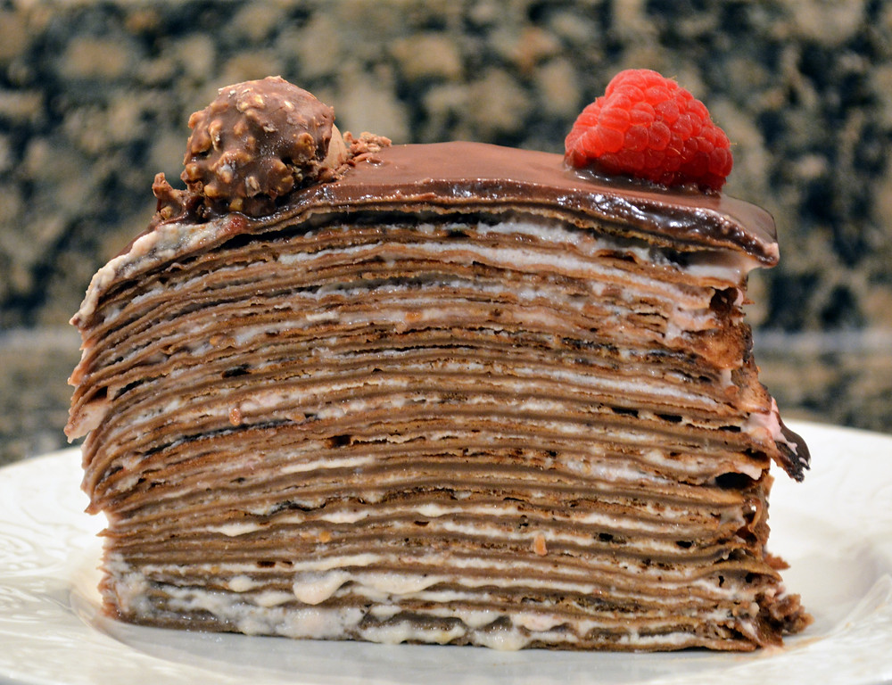 Chocolate Raspberry Cream Crepe Cake with Raspberry Cream