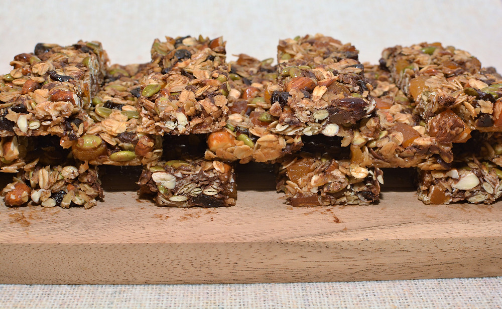 Stacked Cherry Apricot Nut and Seed Granola Bars with Dark Chocolate