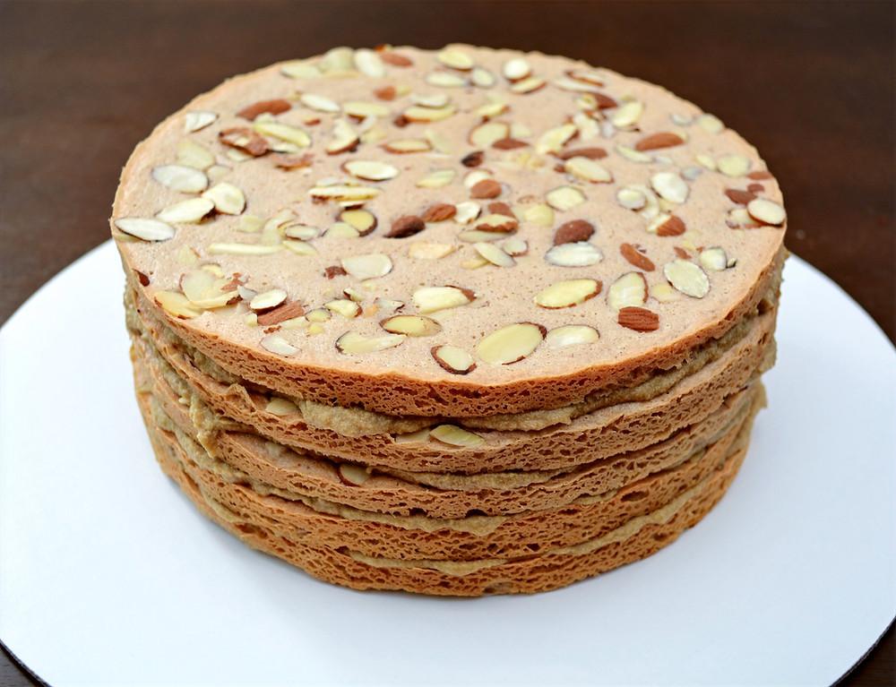 Almond Meringue Layer Cake with Coffee Custard Buttercream