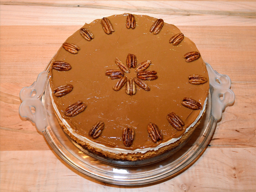 Caramel Pecan Pie Pumpkin Cheesecake with Candied Pecans