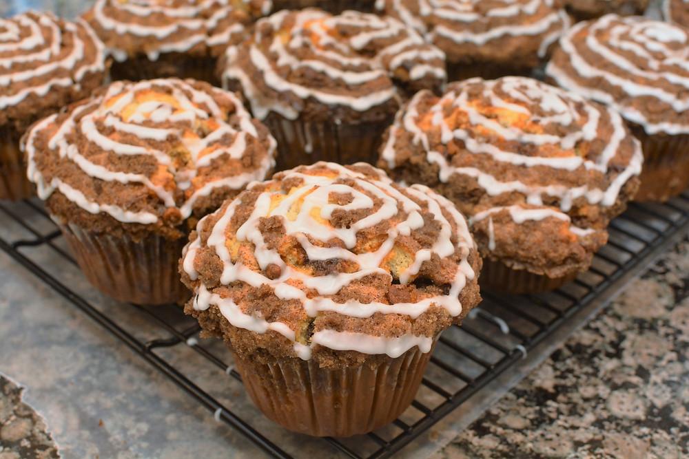 Cinnamon Roll Muffins with Cinnamon Streusel