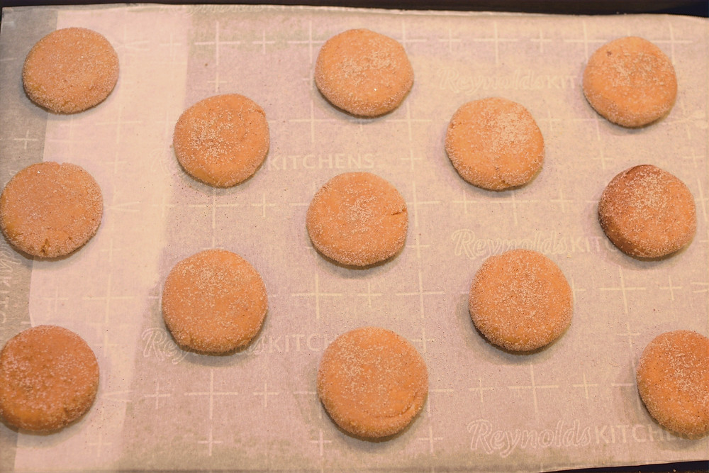 Pumpkin Snickerdoodles on baking sheet