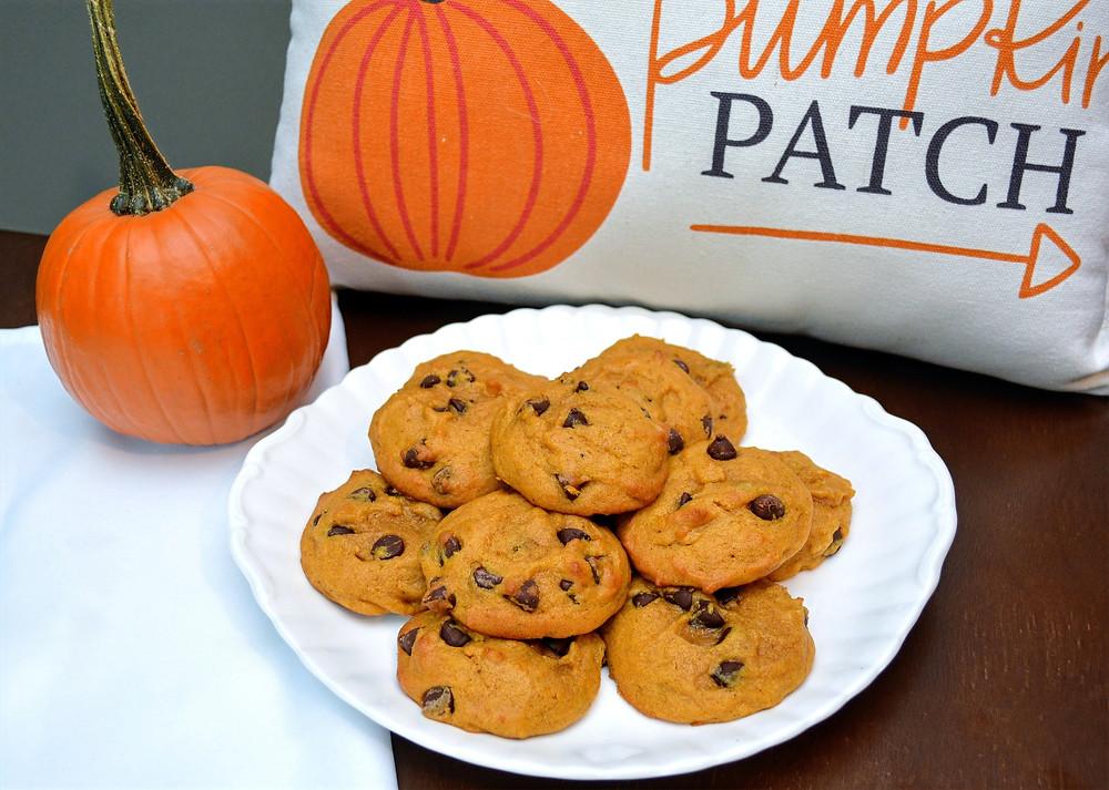 Soft and Moist Pumpkin Chocolate Chip Cookies