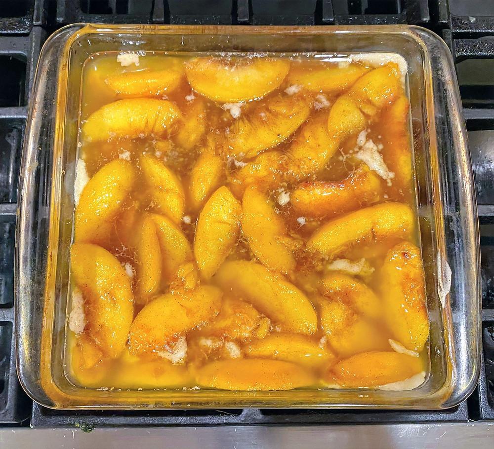 Peach Cobbler with Cinnamon Peach Syrup