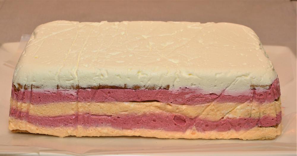 Raspberry Peach Icebox Cake with White Chocolate Cream