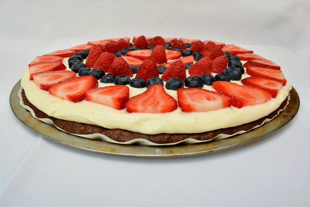 Patriotic Berry Brownie Pizza with Fresh, Juicy Summer Berries
