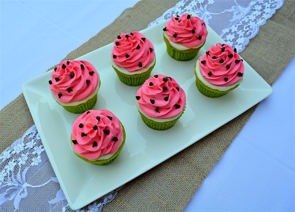 Watermelon Cupcakes with Watermelon Cream Cheese Frosting
