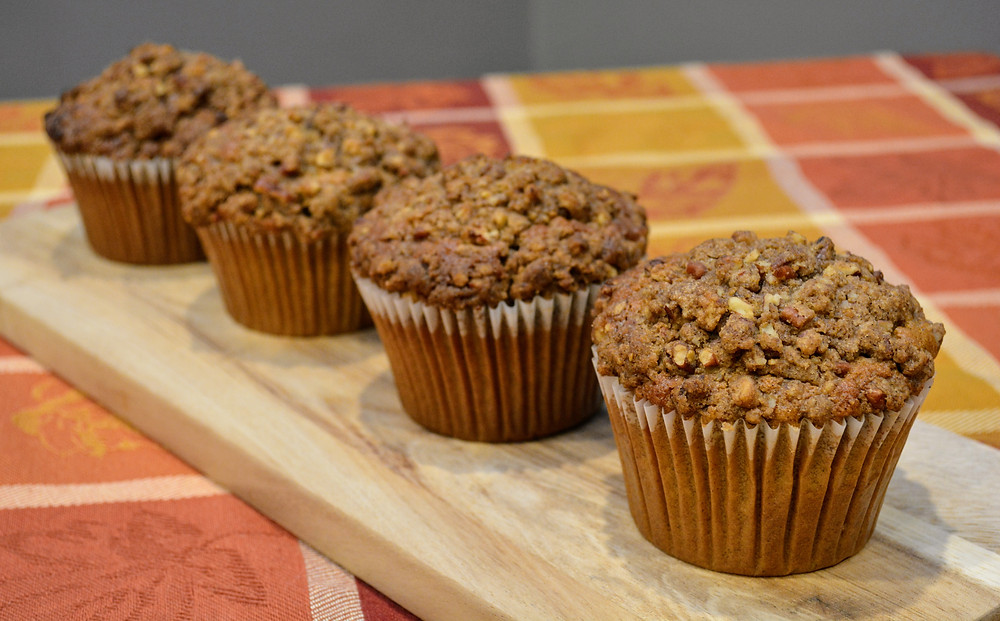 Jumbo Spiced Sweet Potato Muffins with Pecan Streusel