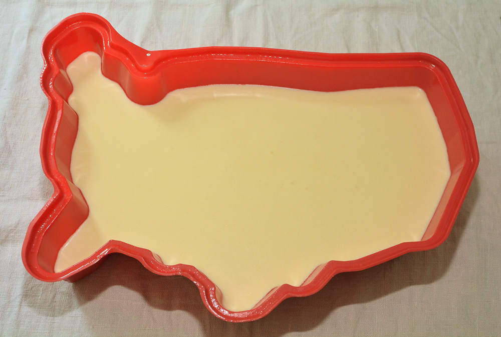 Lemon Cream Layer of 4th of July Jell-O Cake
