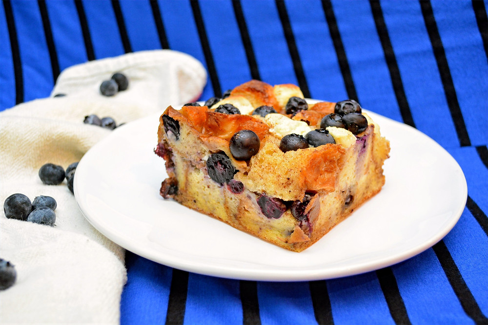 Sweet and Creamy Blueberries and Cream French Toast Casserole