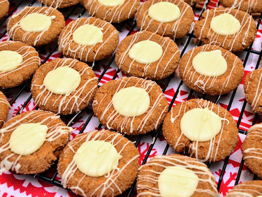 Gingerbread Thumbprint Cookies with White Chocolate Eggnog Filling