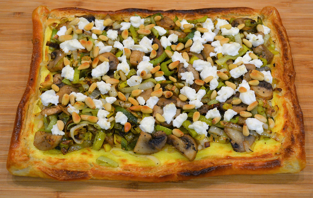 Mushroom, Leek, and Goat Cheese Tart with Pine Nuts