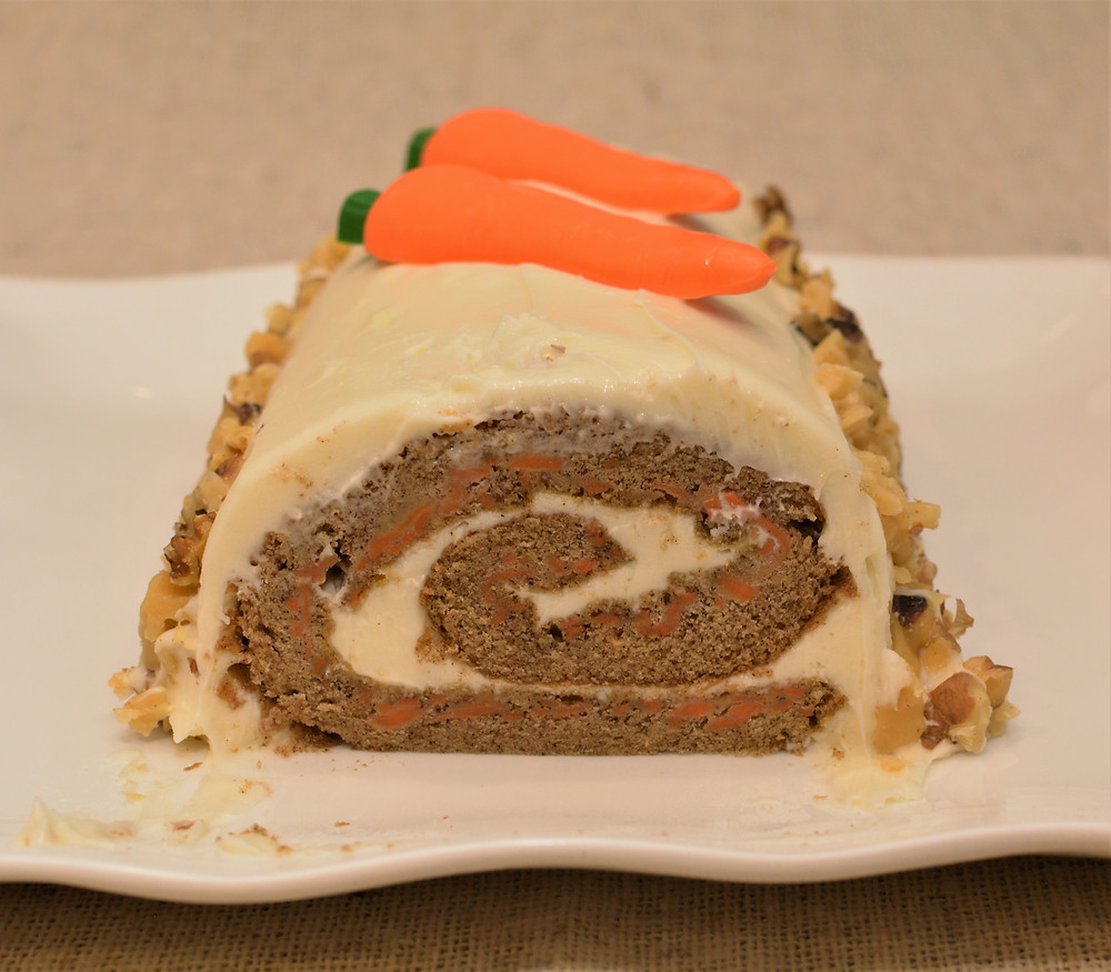 Tender Carrot Cake Roll with Cream Cheese Frosting