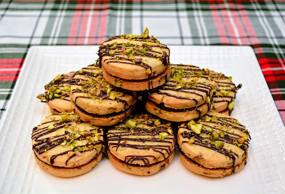 Plated Dark Chocolate Pistachio Shortbread Cookies
