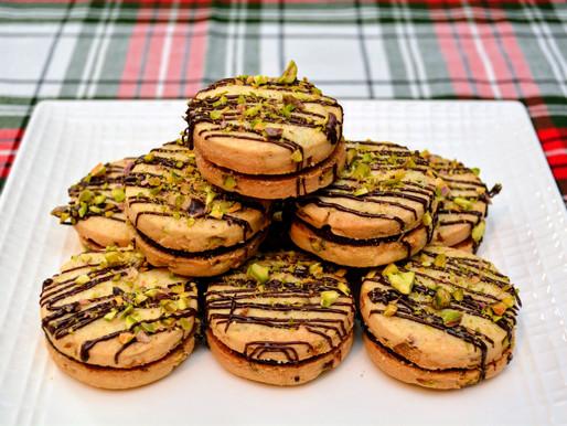 Dark Chocolate Pistachio Shortbread Cookies