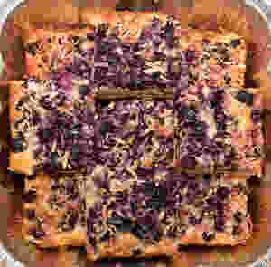 Sliced Blueberry Lemon Coconut Cake Bars