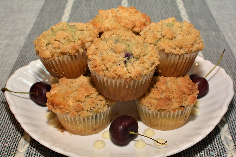 Plated White Chocolate Cherry Muffins with Crumb Topping