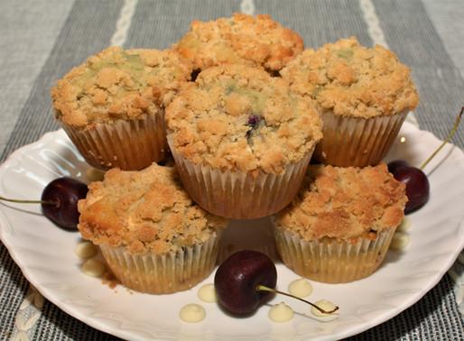 White Chocolate Cherry Muffins with Crumb Topping