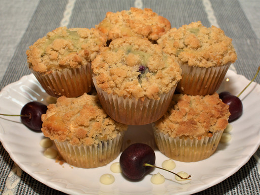 White Chocolate Cherry Muffins with Crumb Topping