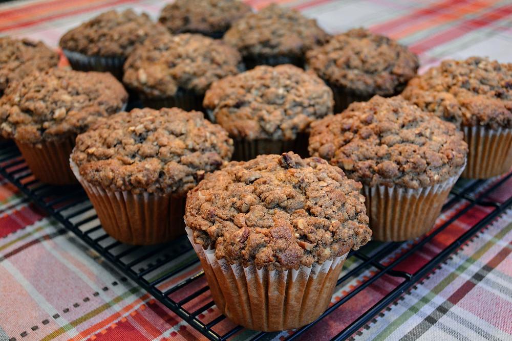 Moist Jumbo Spiced Sweet Potato Muffins with Pecan Streusel