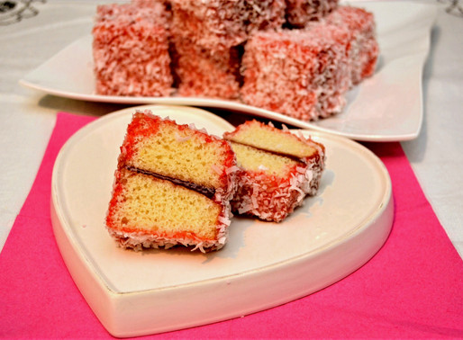 Strawberry Coconut Lamingtons with Jam Filling