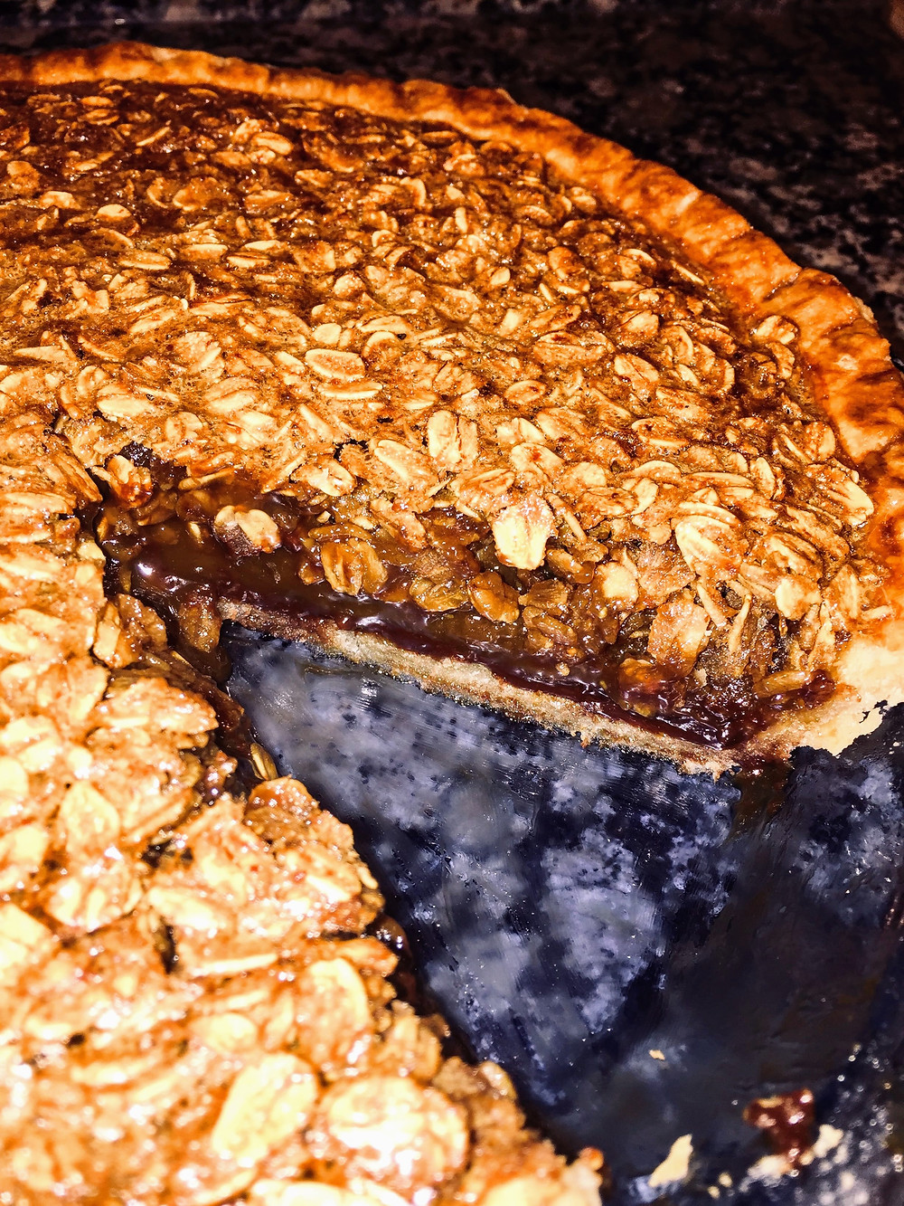 Black Bottom Oatmeal Pie with Dark Chocolate Ganache and Buttery Crust
