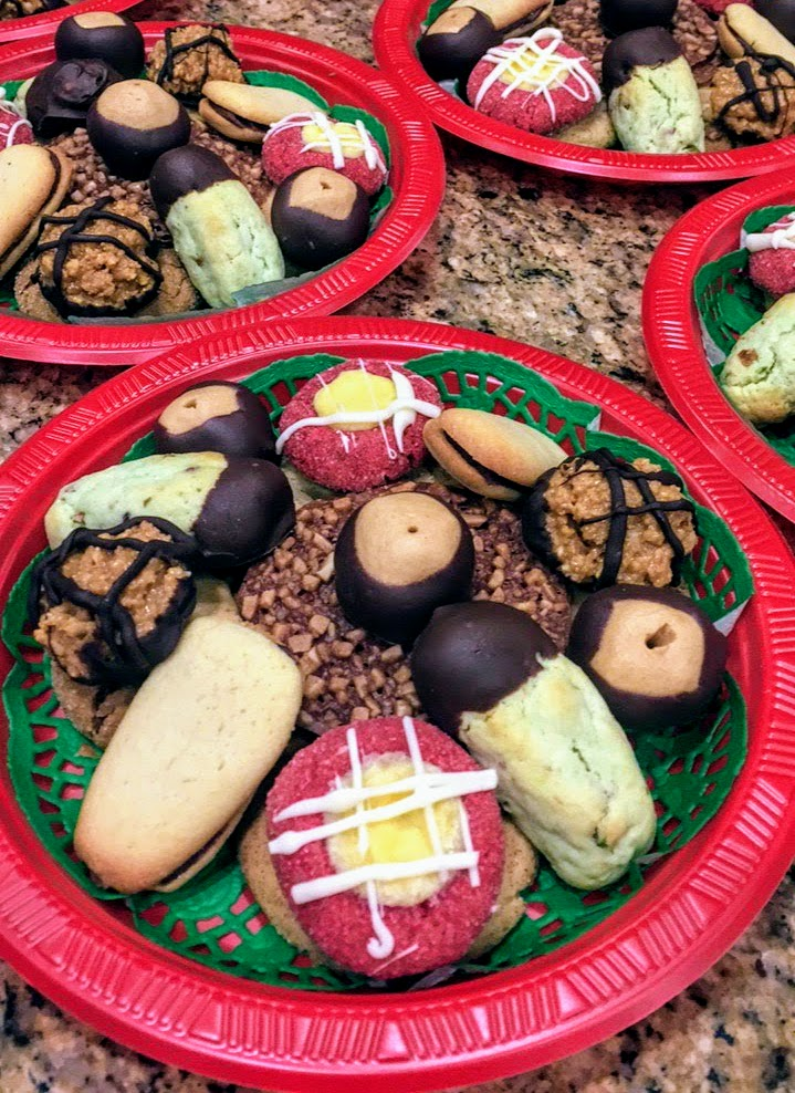 Christmas Cookie Platter with Red Velvet Cheesecake Thumbprint Cookies