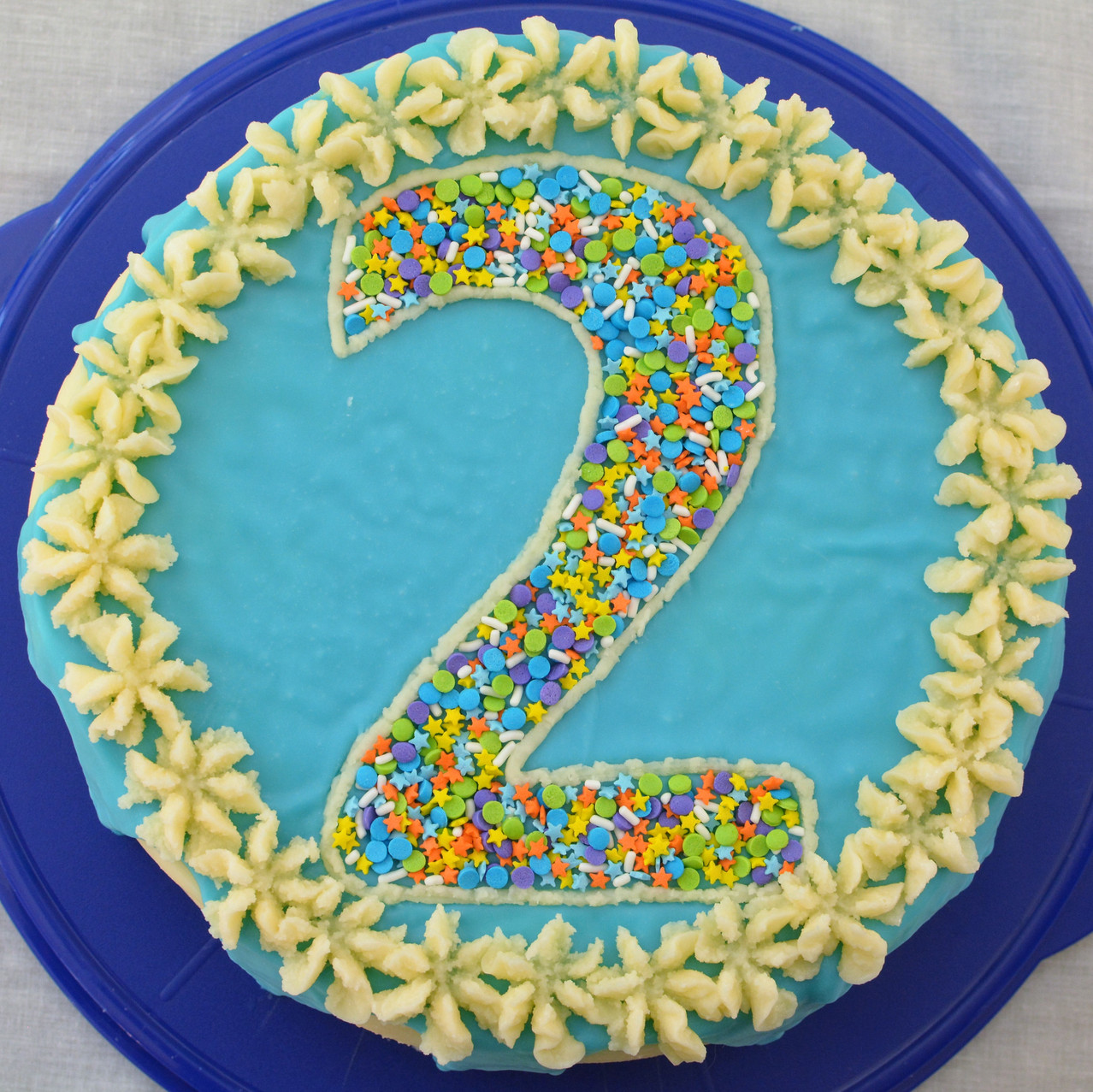 Decorated Double Layer Funfetti Cake with Buttercream Frosting