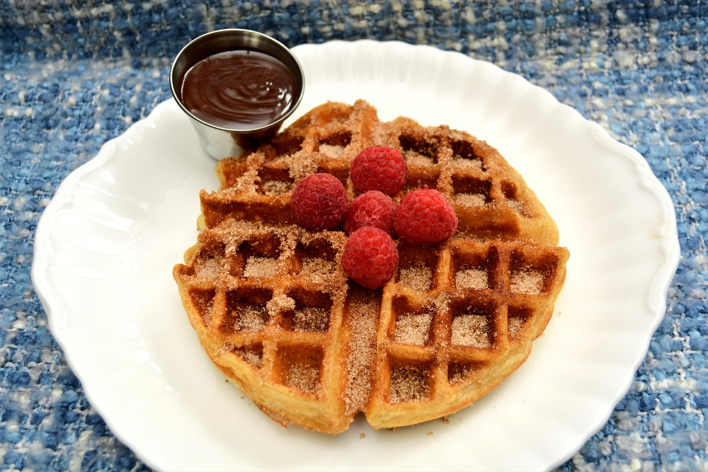 Churro Belgian Waffles with Mexican Chocolate Sauce