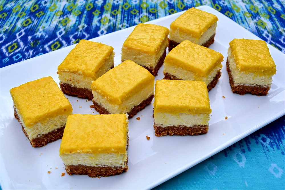 Summer Mango Coconut Cheesecake Bars