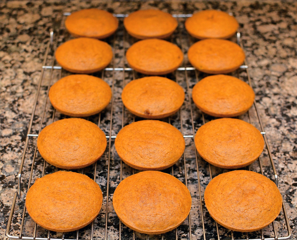 Cookie tops and bottoms for Spiced Pumpkin Whoopie Pies