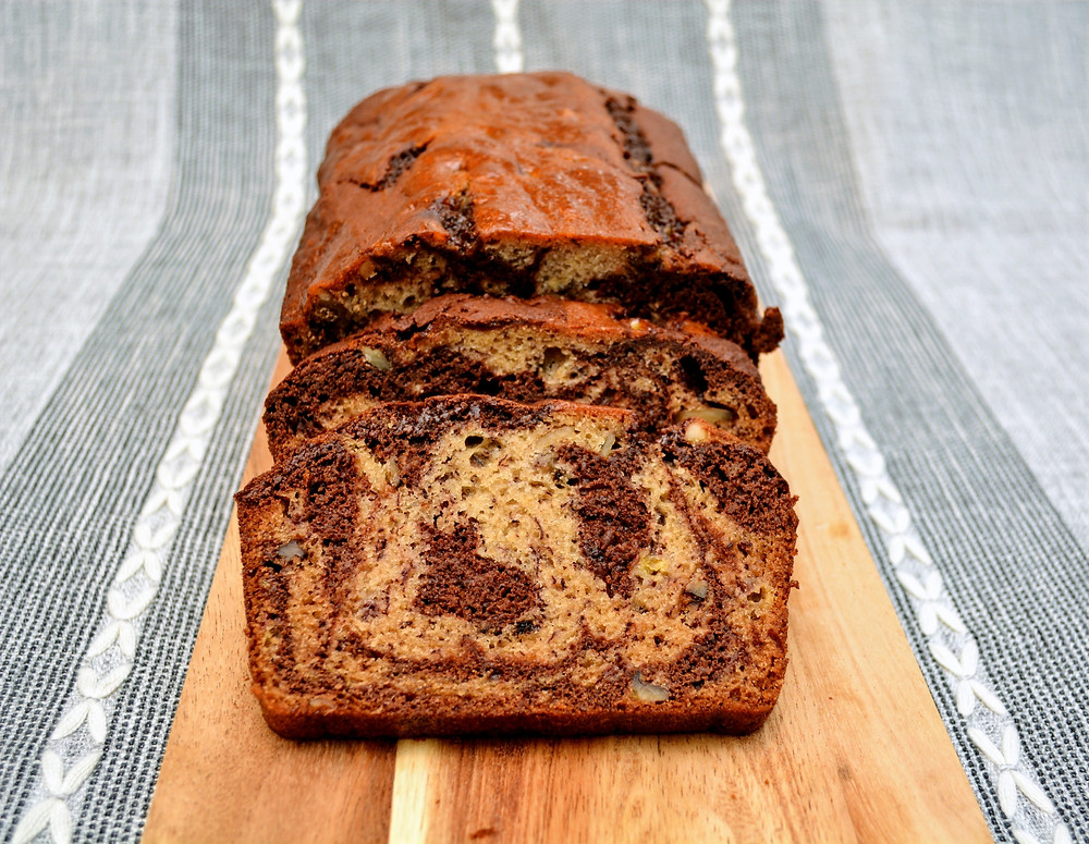Marbled Banana Bread with Chocolate and Walnuts