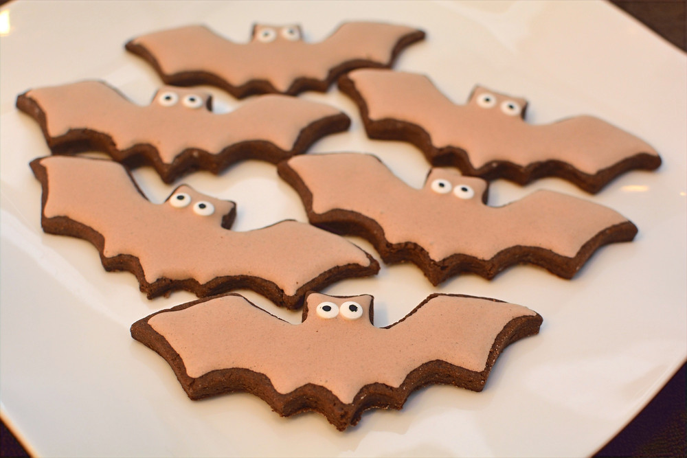 Chocolate Cut-out Cookies with Chocolate Royal Icing decorated as bats