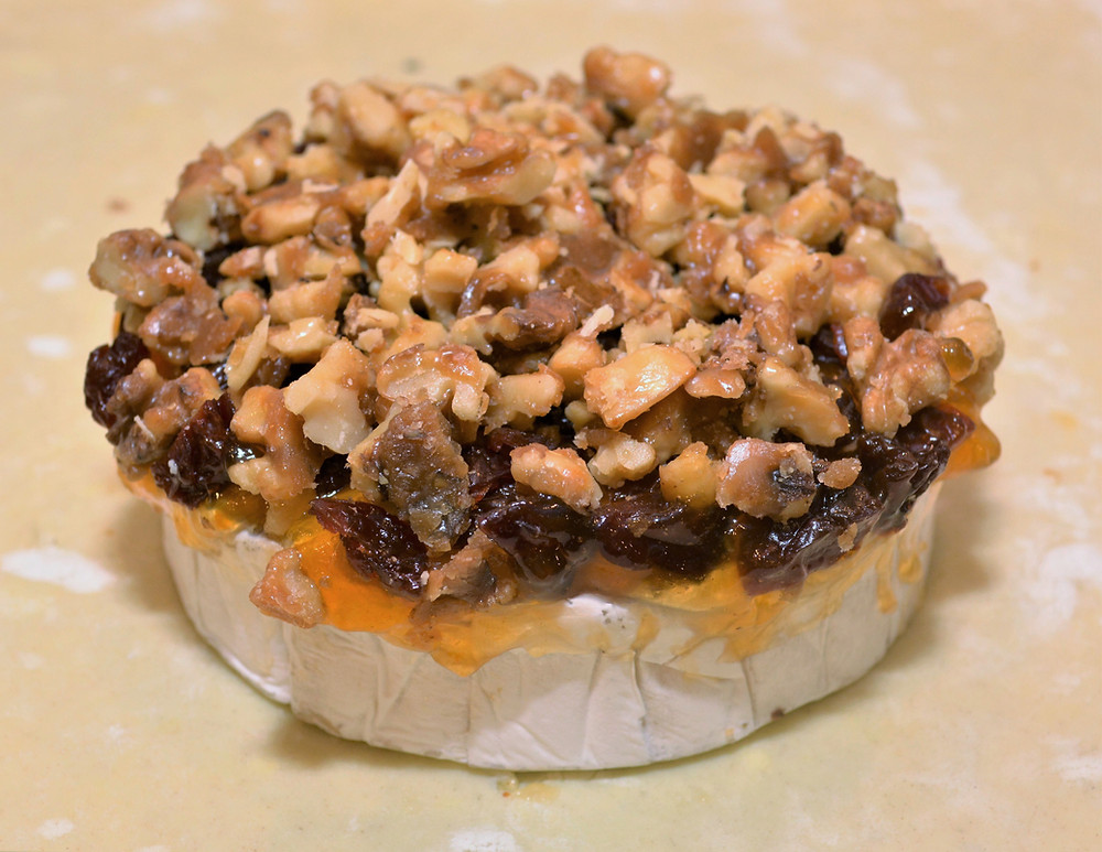 Apricot, Cherry, and Candied Walnut Baked Brie