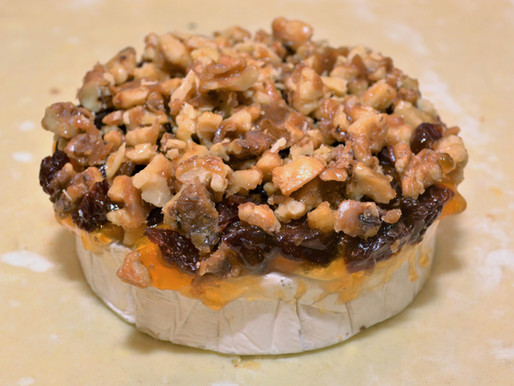 Apricot, Cherry, and Candied Walnut Baked Brie en Croûte