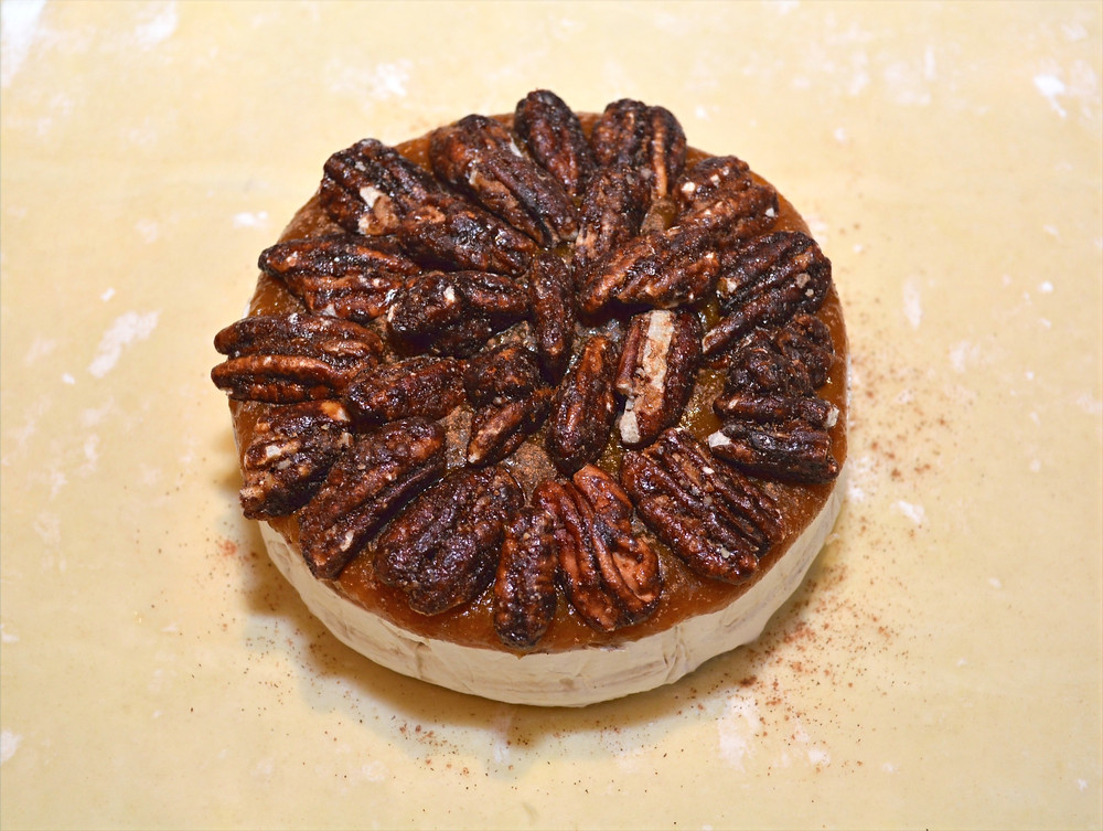 Maple Pumpkin Baked Brie with Candied Pecans
