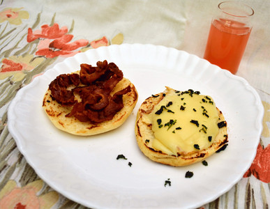 Bacon and Egg Sandwich on Homemade English Muffin
