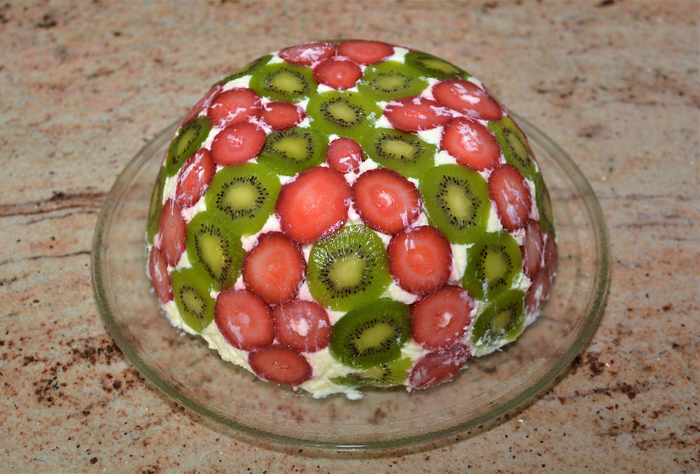 Plated Strawberry Kiwi Domed Trifle Cake
