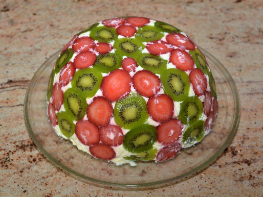 Strawberry Kiwi Domed Trifle Cake