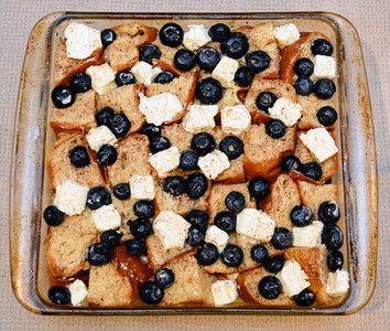 Blueberries and Cream French Toast Casserole Soaked Overnight in Egg Mixture