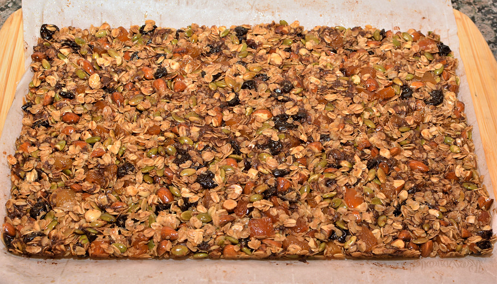 Fresh baked Cherry Apricot Nut and Seed Granola Bars with Dark Chocolate