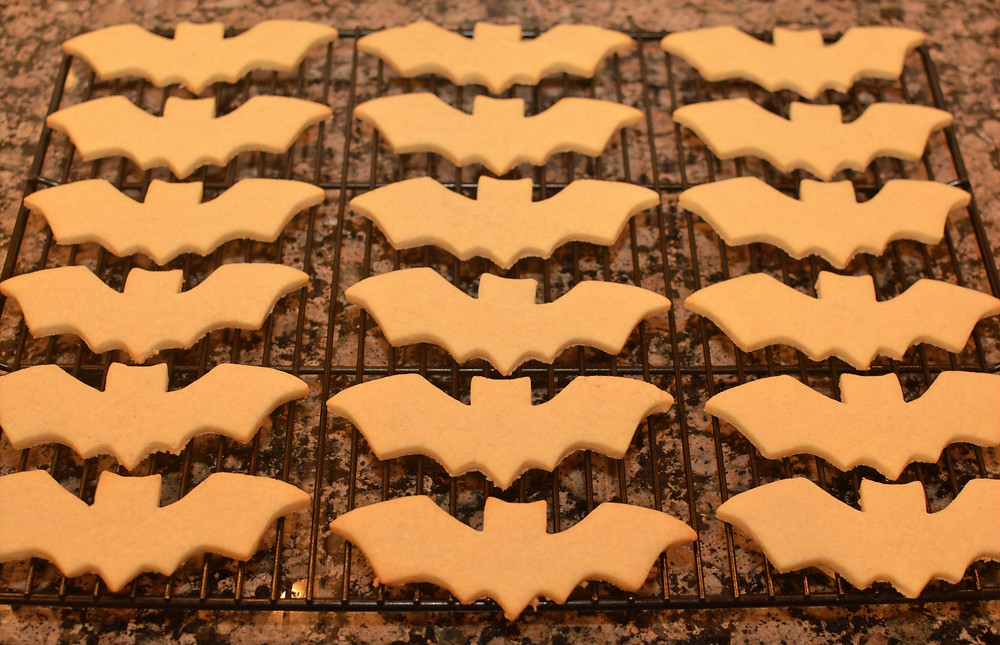 Almond sugar cookies cut out as bats