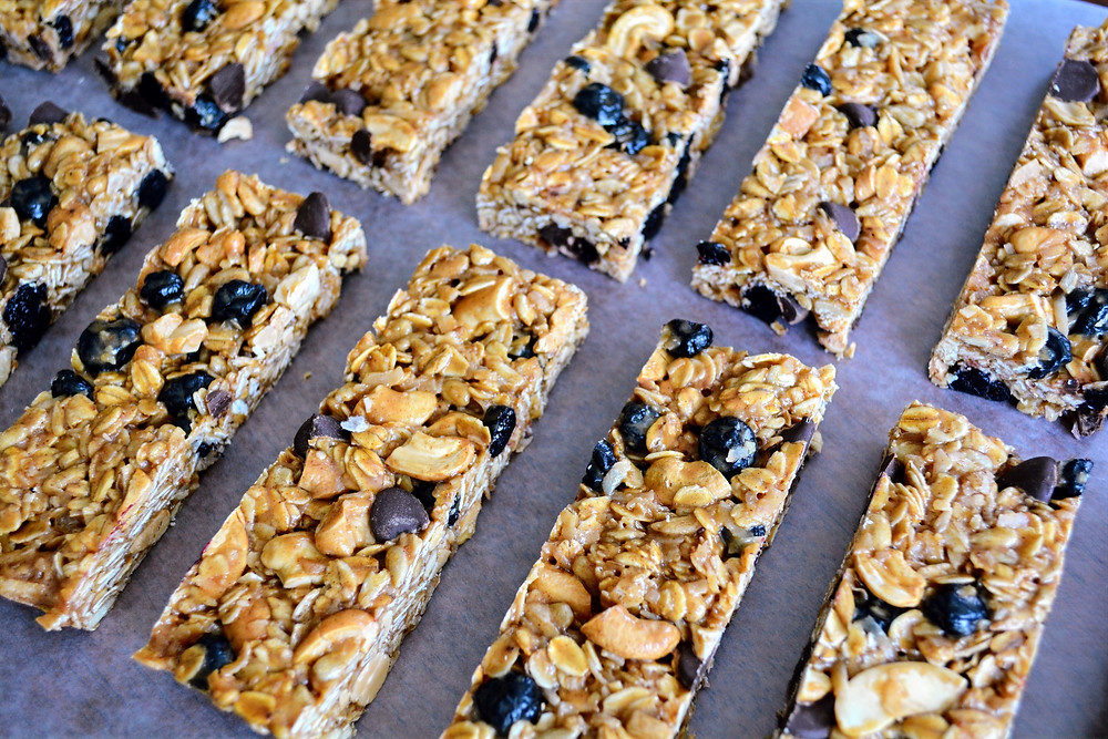 Sweet and Salty Cashew, Coconut, Blueberry Granola Bars