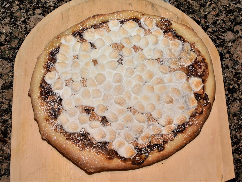 S'mores Pizza dusted with Confectioners' Sugar